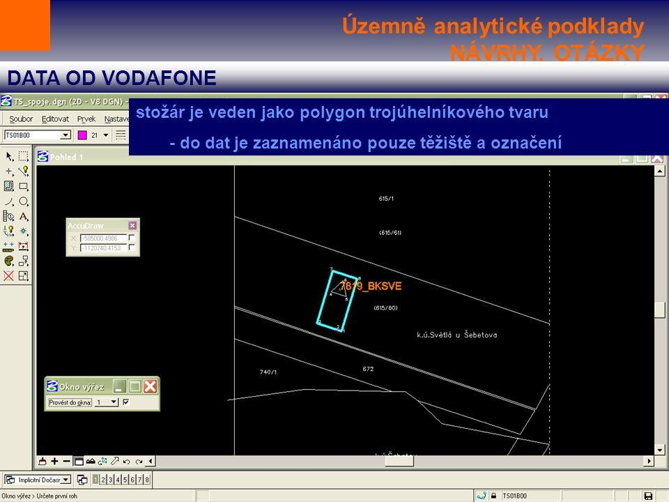 Územně analytické podklady NÁVRHY, OTÁZKY DATA OD VODAFONE stožár je veden jako polygon trojúhelníkového tvaru - do dat je zaznamenáno pouze těžiště a označení