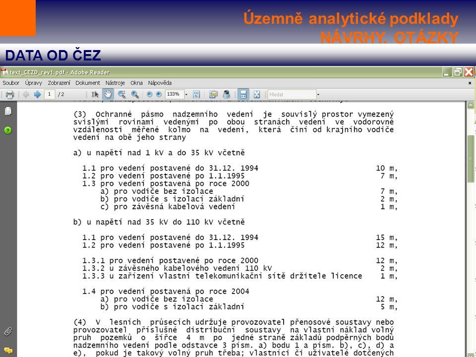 Územně analytické podklady NÁVRHY, OTÁZKY DATA OD ČEZ