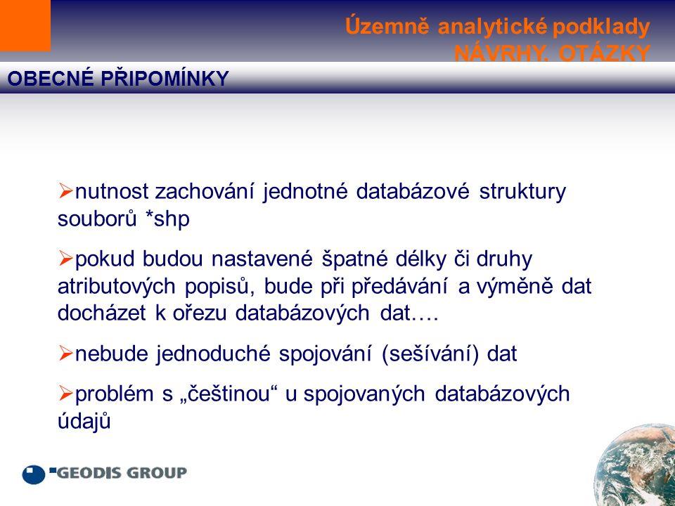 Územně analytické podklady NÁVRHY, OTÁZKY OBECNÉ PŘIPOMÍNKY  nutnost zachování jednotné databázové struktury souborů *shp  pokud budou nastavené špatné délky či druhy atributových popisů, bude při předávání a výměně dat docházet k ořezu databázových dat….