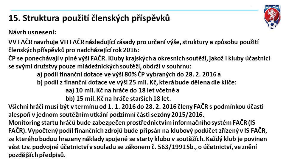 15. Struktura použití členských příspěvků Návrh usnesení: VV FAČR navrhuje VH FAČR následující zásady pro určení výše, struktury a způsobu použití čle