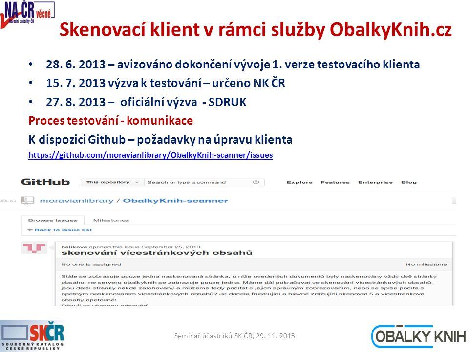 Skenovací klient v rámci služby ObalkyKnih.cz 28. 6.