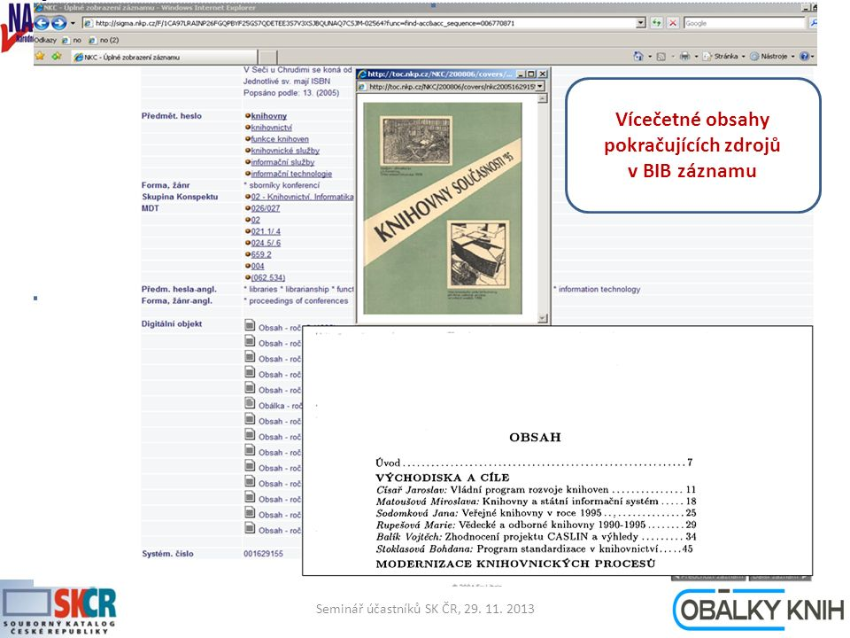 Seminář účastníků SK ČR, 29. 11. 20137 Vícečetné obsahy pokračujících zdrojů v BIB záznamu