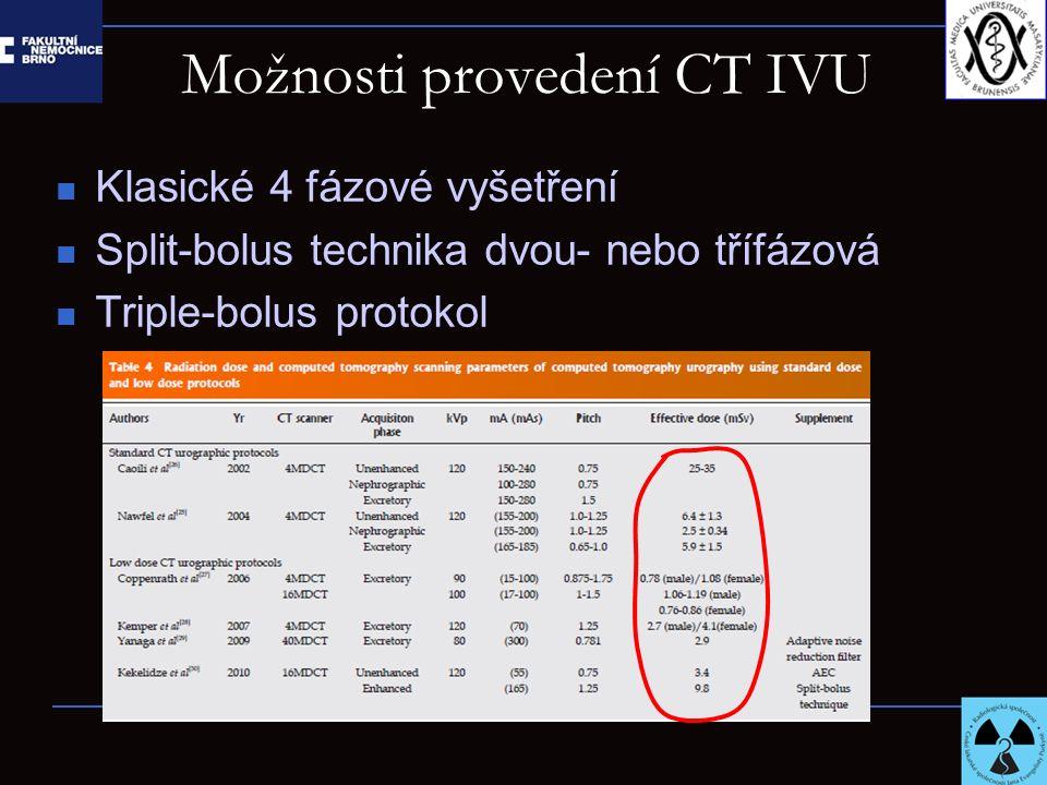 Možnosti provedení CT IVU Klasické 4 fázové vyšetření Split-bolus technika dvou- nebo třífázová Triple-bolus protokol