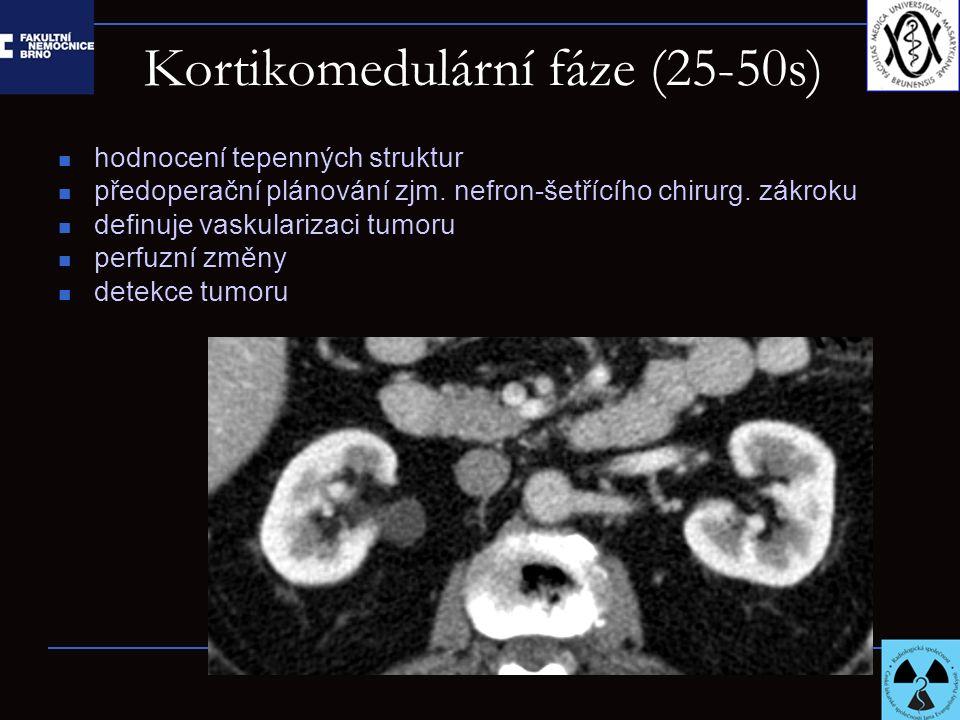 Nefrografická fáze (60-140 s): detekce renálních lézí pyelonefritida invaze tumoru (renální žíla, dolní dutá žíla) charakteristika denzity léze perfuzní změny ev.