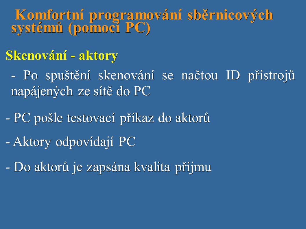 Komfortní programování sběrnicových systémů (pomocí PC) Komfortní programování sběrnicových systémů (pomocí PC) - PC pošle testovací příkaz do aktorů - Po spuštění skenování se načtou ID přístrojů napájených ze sítě do PC Skenování - aktory - Aktory odpovídají PC - Do aktorů je zapsána kvalita příjmu