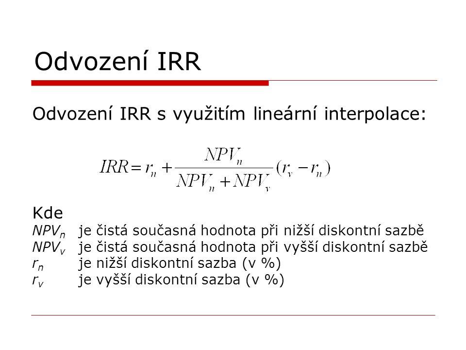 Odvození IRR Odvození IRR s využitím lineární interpolace: Kde NPV n je čistá současná hodnota při nižší diskontní sazbě NPV v je čistá současná hodnota při vyšší diskontní sazbě r n je nižší diskontní sazba (v %) r v je vyšší diskontní sazba (v %)