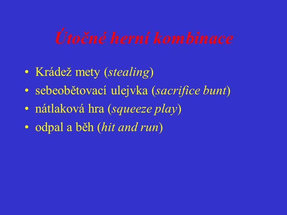 Útočné herní kombinace Krádež mety (stealing) sebeobětovací ulejvka (sacrifice bunt) nátlaková hra (squeeze play) odpal a běh (hit and run)