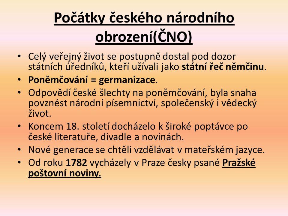 Počátky českého národního obrození(ČNO) Celý veřejný život se postupně dostal pod dozor státních úředníků, kteří užívali jako státní řeč němčinu. Poně