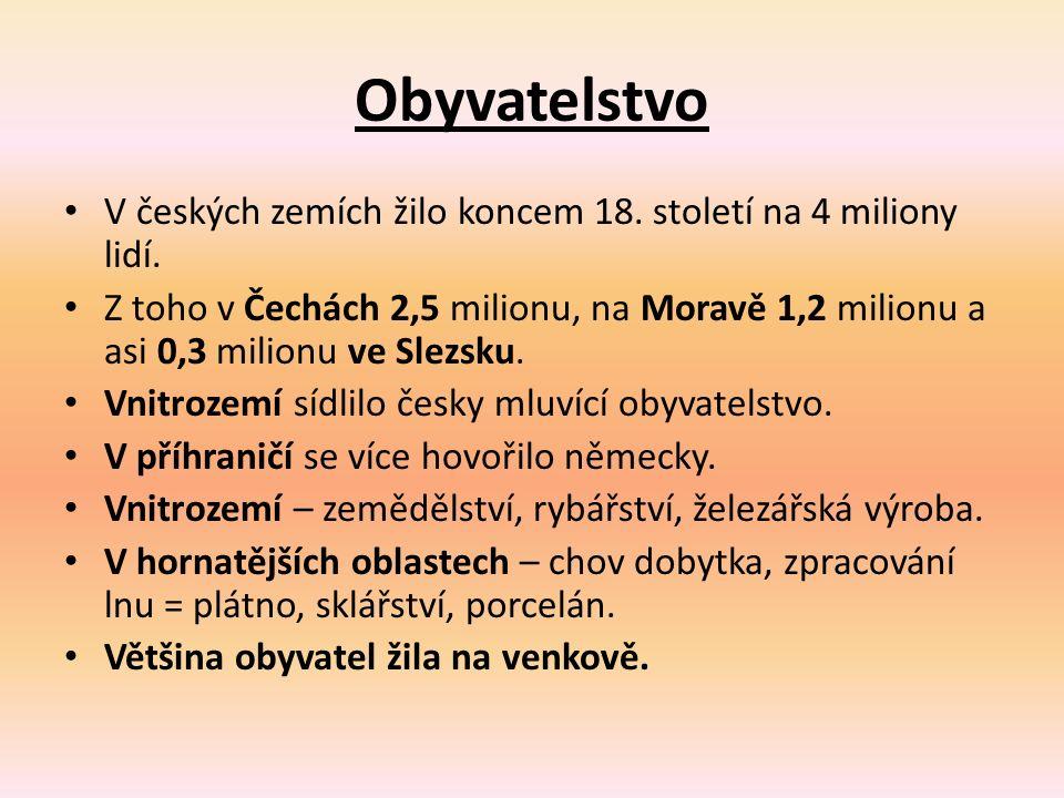 Obyvatelstvo V českých zemích žilo koncem 18. století na 4 miliony lidí. Z toho v Čechách 2,5 milionu, na Moravě 1,2 milionu a asi 0,3 milionu ve Slez
