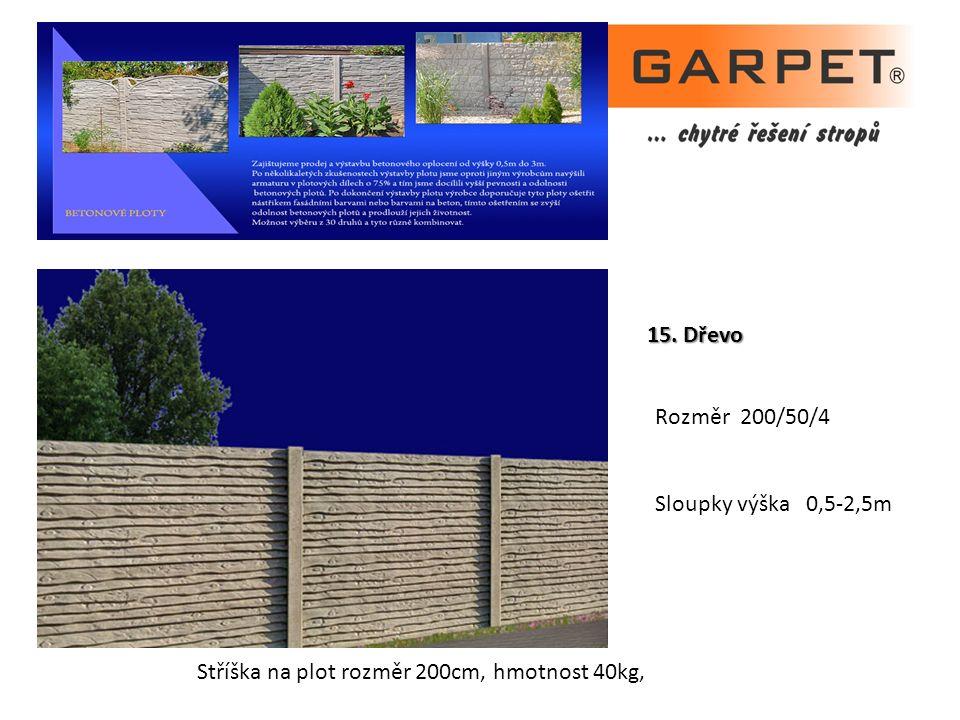 15. Dřevo Rozměr 200/50/4 Sloupky výška 0,5-2,5m Stříška na plot rozměr 200cm, hmotnost 40kg,