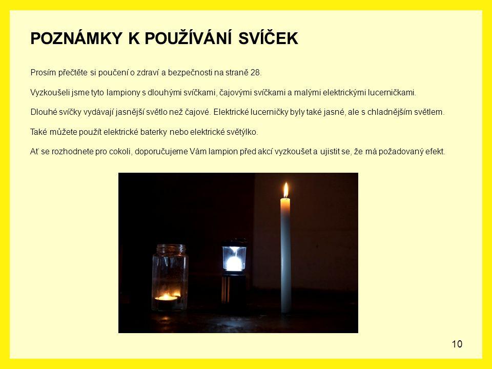 10 POZNÁMKY K POUŽÍVÁNÍ SVÍČEK Prosím přečtěte si poučení o zdraví a bezpečnosti na straně 28. Vyzkoušeli jsme tyto lampiony s dlouhými svíčkami, čajo