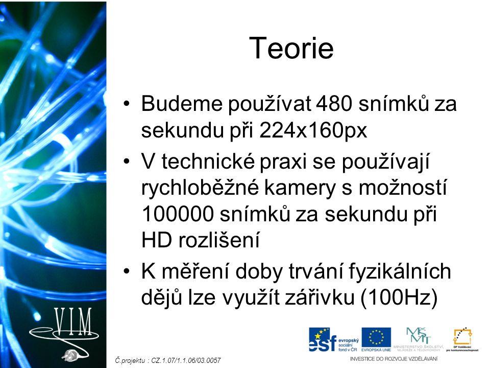 Č.projektu : CZ.1.07/1.1.06/03.0057 Teorie Budeme používat 480 snímků za sekundu při 224x160px V technické praxi se používají rychloběžné kamery s možností 100000 snímků za sekundu při HD rozlišení K měření doby trvání fyzikálních dějů lze využít zářivku (100Hz)