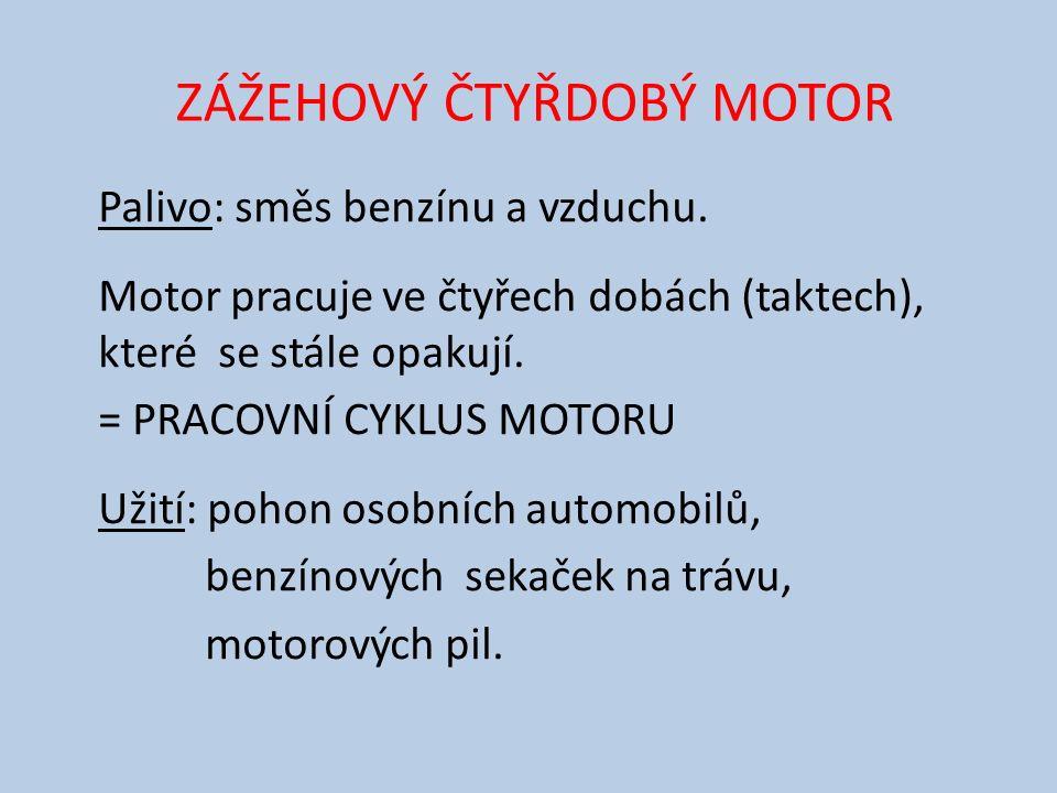 ZÁŽEHOVÝ ČTYŘDOBÝ MOTOR Palivo: směs benzínu a vzduchu.