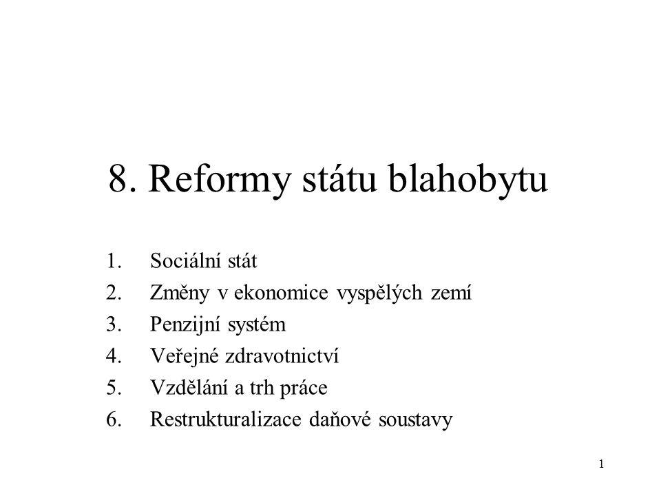 1 8. Reformy státu blahobytu 1.Sociální stát 2.Změny v ekonomice vyspělých zemí 3.Penzijní systém 4.Veřejné zdravotnictví 5.Vzdělání a trh práce 6.Res