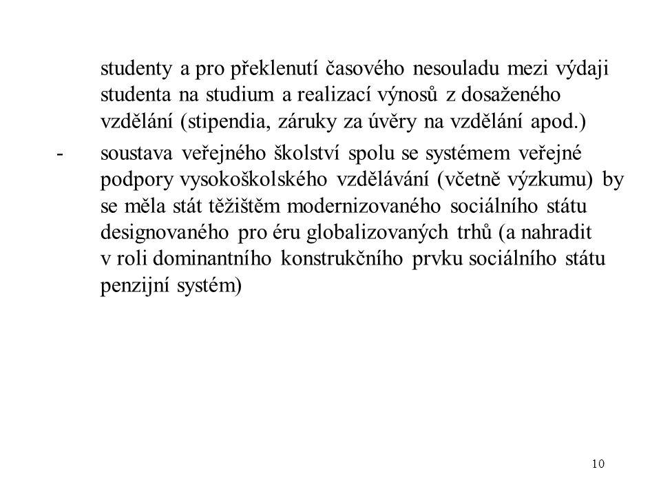 10 studenty a pro překlenutí časového nesouladu mezi výdaji studenta na studium a realizací výnosů z dosaženého vzdělání (stipendia, záruky za úvěry na vzdělání apod.) -soustava veřejného školství spolu se systémem veřejné podpory vysokoškolského vzdělávání (včetně výzkumu) by se měla stát těžištěm modernizovaného sociálního státu designovaného pro éru globalizovaných trhů (a nahradit v roli dominantního konstrukčního prvku sociálního státu penzijní systém)