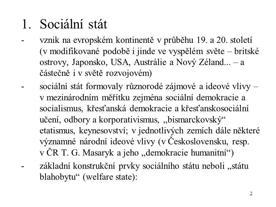 2 1.Sociální stát -vznik na evropském kontinentě v průběhu 19.