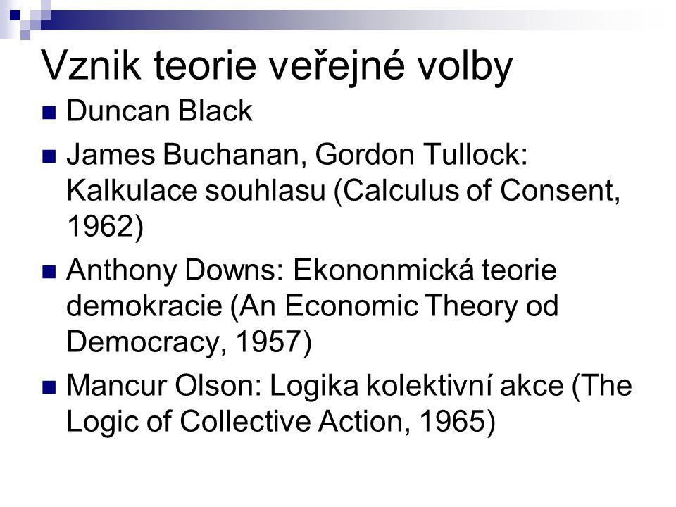 Vznik teorie veřejné volby Duncan Black James Buchanan, Gordon Tullock: Kalkulace souhlasu (Calculus of Consent, 1962) Anthony Downs: Ekononmická teor
