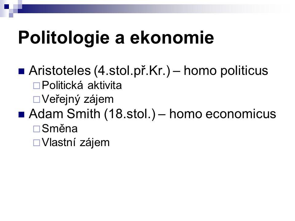 Politologie a ekonomie Aristoteles (4.stol.př.Kr.) – homo politicus  Politická aktivita  Veřejný zájem Adam Smith (18.stol.) – homo economicus  Směna  Vlastní zájem