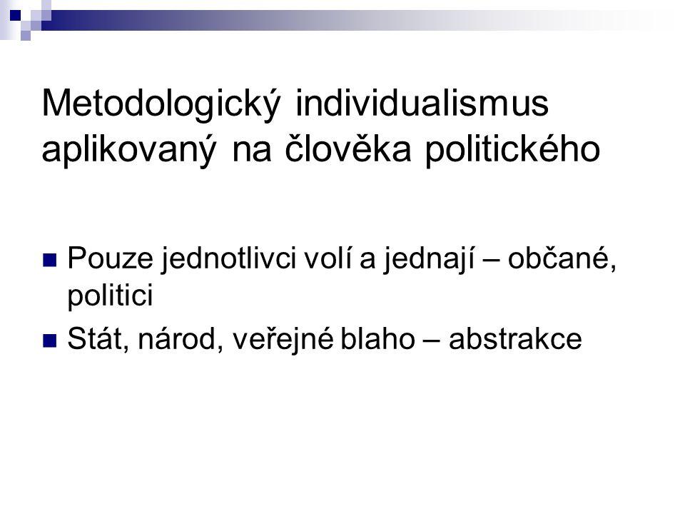 Metodologický individualismus aplikovaný na člověka politického Pouze jednotlivci volí a jednají – občané, politici Stát, národ, veřejné blaho – abstrakce