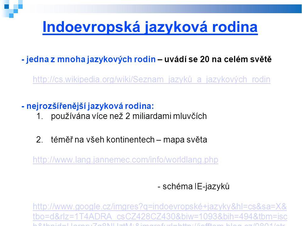 Indoevropská jazyková rodina - jedna z mnoha jazykových rodin – uvádí se 20 na celém světě http://cs.wikipedia.org/wiki/Seznam_jazyků_a_jazykových_rodin http://cs.wikipedia.org/wiki/Seznam_jazyků_a_jazykových_rodin - nejrozšířenější jazyková rodina: 1.používána více než 2 miliardami mluvčích 2.téměř na všeh kontinentech – mapa světa http://www.lang.jannemec.com/info/worldlang.php http://www.lang.jannemec.com/info/worldlang.php - schéma IE-jazyků http://www.google.cz/imgres q=indoevropské+jazyky&hl=cs&sa=X& tbo=d&rlz=1T4ADRA_csCZ428CZ430&biw=1093&bih=494&tbm=isc h&tbnid=HarprvZg8NHztM:&imgrefurl=http://jefftom.blog.cz/0801/str ucne-rozdeleni-indoevropskych-jazyku&docid=1- AxWllyLmOQqM&imgurl=http://nd01.jxs.cz/083/602/8721e29492_20 823231_o2.jpg&w=705&h=482&ei=_bPkUPb6F4aZ0QXl3IDIAQ&zo om=1&iact=hc&vpx=2&vpy=131&dur=288&hovh=186&hovw=272&t x=123&ty=106&sig=101395429111366992407&page=1&tbnh=144& tbnw=211&start=0&ndsp=11&ved=1t:429,r:0,s:0,i:88 http://www.google.cz/imgres q=indoevropské+jazyky&hl=cs&sa=X& tbo=d&rlz=1T4ADRA_csCZ428CZ430&biw=1093&bih=494&tbm=isc h&tbnid=HarprvZg8NHztM:&imgrefurl=http://jefftom.blog.cz/0801/str ucne-rozdeleni-indoevropskych-jazyku&docid=1- AxWllyLmOQqM&imgurl=http://nd01.jxs.cz/083/602/8721e29492_20 823231_o2.jpg&w=705&h=482&ei=_bPkUPb6F4aZ0QXl3IDIAQ&zo om=1&iact=hc&vpx=2&vpy=131&dur=288&hovh=186&hovw=272&t x=123&ty=106&sig=101395429111366992407&page=1&tbnh=144& tbnw=211&start=0&ndsp=11&ved=1t:429,r:0,s:0,i:88