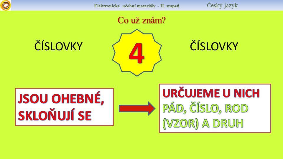 Co už znám ČÍSLOVKY ČÍSLOVKY Elektronické učební materiály - II. stupeň Český jazyk