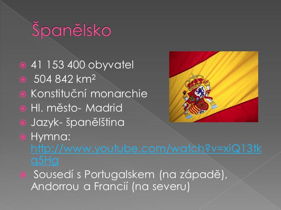  41 153 400 obyvatel  504 842 km 2  Konstituční monarchie  Hl. město- Madrid  Jazyk- španělština  Hymna: http://www.youtube.com/watch?v=xiQ13tk