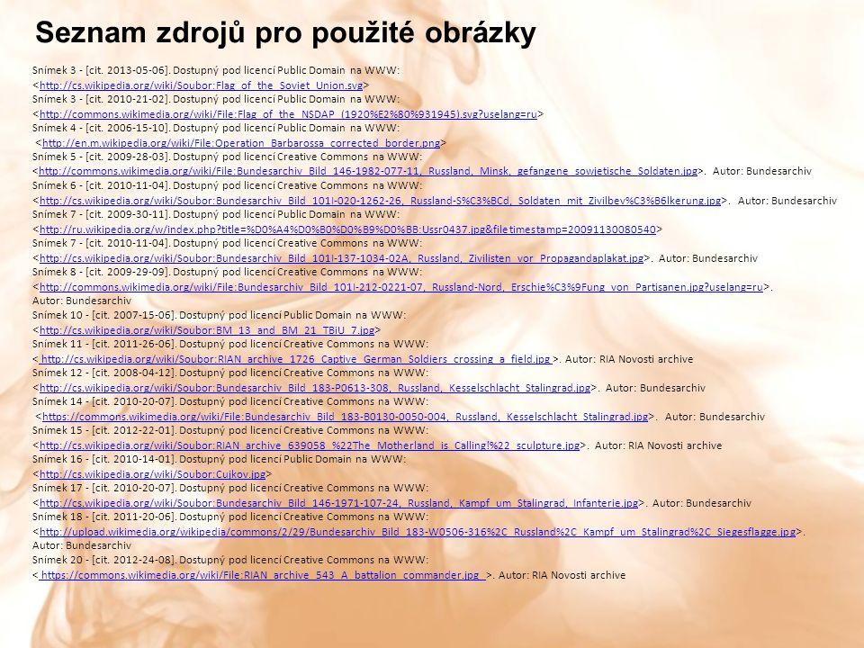Seznam zdrojů pro použité obrázky Snímek 3 - [cit.