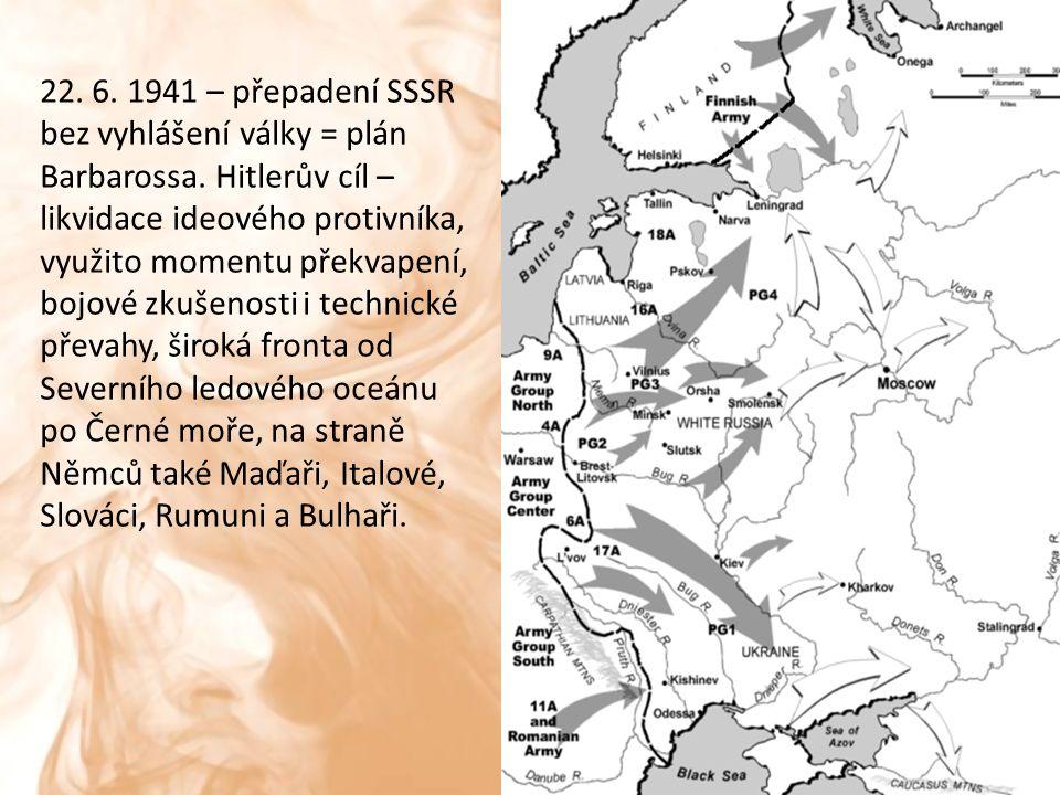 3 směry úderu: na Leningrad, Moskvu, Kyjev, taktika bleskové války – Stalin nepřipraven, ignoroval varování ze zahraničí, oslaben předchozím terorem.
