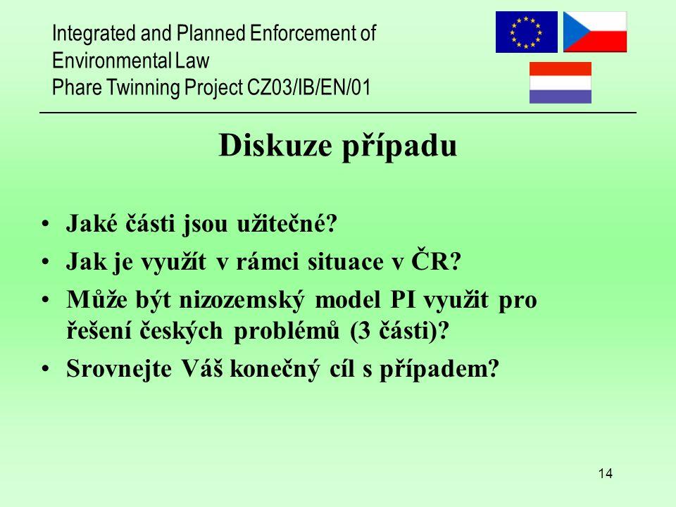 Integrated and Planned Enforcement of Environmental Law Phare Twinning Project CZ03/IB/EN/01 14 Diskuze případu Jaké části jsou užitečné? Jak je využí