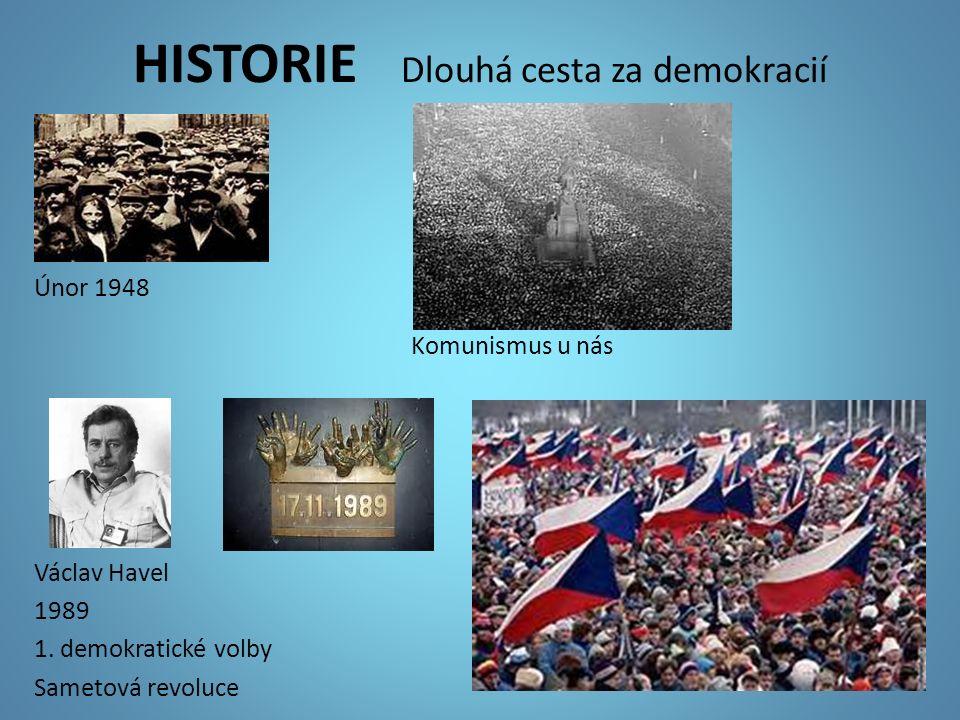 HISTORIE Dlouhá cesta za demokracií Únor 1948 Komunismus u nás Václav Havel 1989 1. demokratické volby Sametová revoluce
