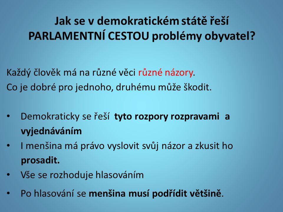 Jak se v demokratickém státě řeší PARLAMENTNÍ CESTOU problémy obyvatel? Každý člověk má na různé věci různé názory. Co je dobré pro jednoho, druhému m