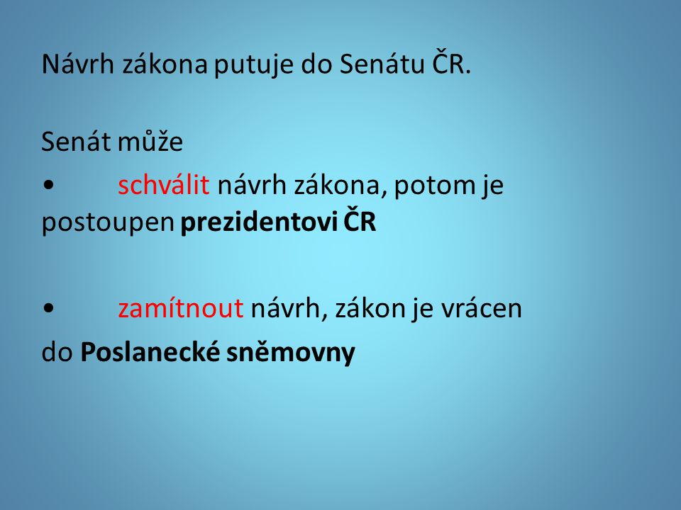Návrh zákona putuje do Senátu ČR.