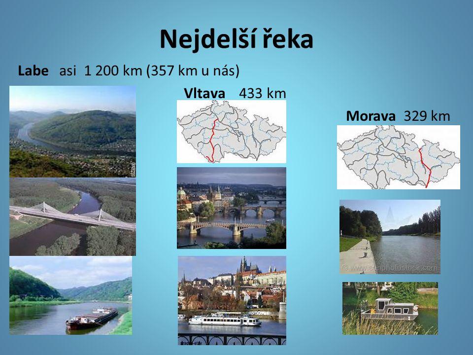 Nejdelší řeka Labe asi 1 200 km (357 km u nás) Vltava 433 km Morava 329 km
