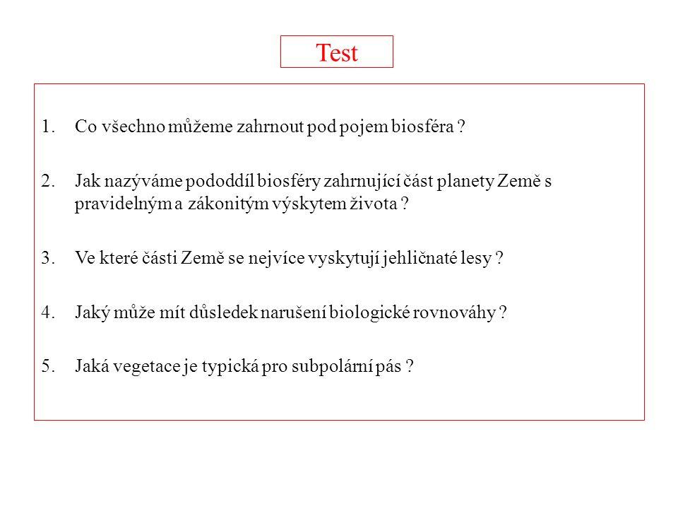 Test 1.Co všechno můžeme zahrnout pod pojem biosféra .