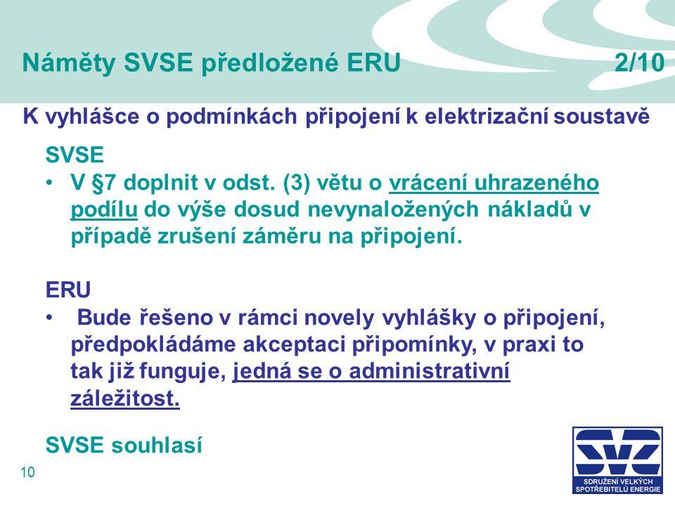 10 Náměty SVSE předložené ERU2/10 K vyhlášce o podmínkách připojení k elektrizační soustavě SVSE V §7 doplnit v odst. (3) větu o vrácení uhrazeného po