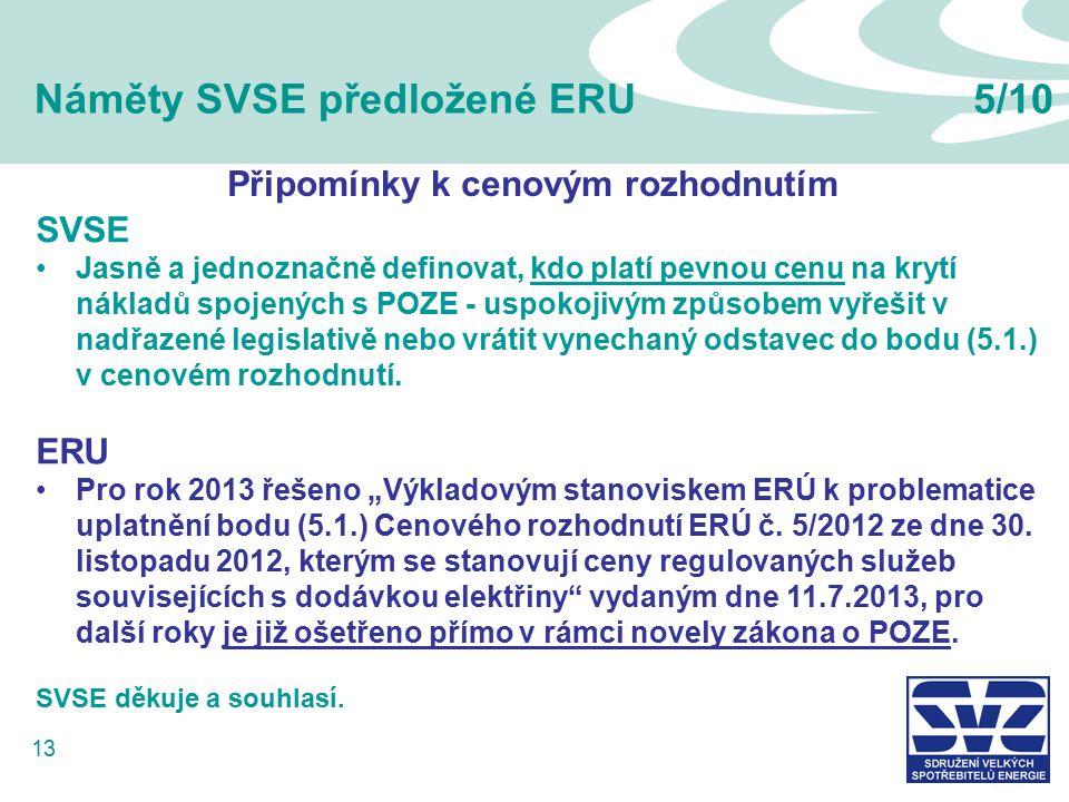 13 Náměty SVSE předložené ERU5/10 SVSE Jasně a jednoznačně definovat, kdo platí pevnou cenu na krytí nákladů spojených s POZE - uspokojivým způsobem vyřešit v nadřazené legislativě nebo vrátit vynechaný odstavec do bodu (5.1.) v cenovém rozhodnutí.