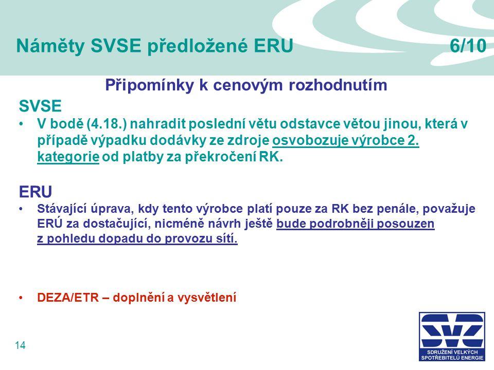 14 Náměty SVSE předložené ERU6/10 SVSE V bodě (4.18.) nahradit poslední větu odstavce větou jinou, která v případě výpadku dodávky ze zdroje osvobozuje výrobce 2.