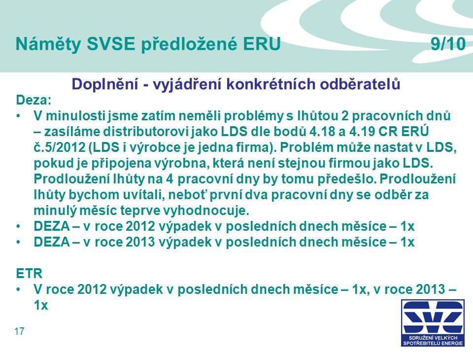 17 Náměty SVSE předložené ERU9/10 Deza: V minulosti jsme zatím neměli problémy s lhůtou 2 pracovních dnů – zasíláme distributorovi jako LDS dle bodů 4.18 a 4.19 CR ERÚ č.5/2012 (LDS i výrobce je jedna firma).