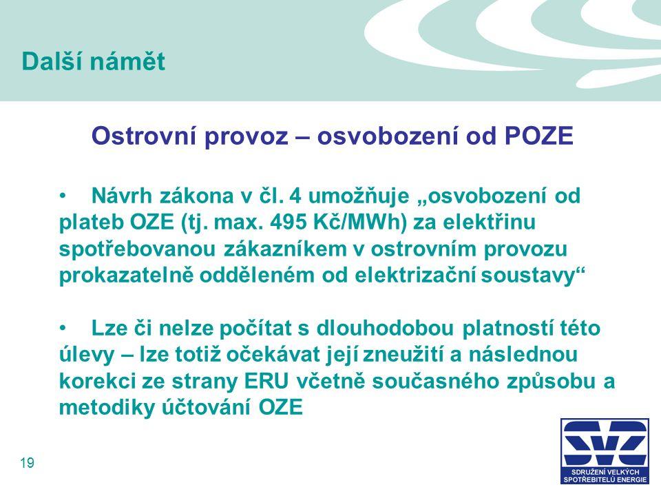 19 Další námět Ostrovní provoz – osvobození od POZE Návrh zákona v čl.