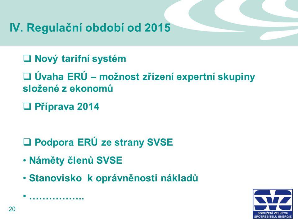 20 IV. Regulační období od 2015  Nový tarifní systém  Úvaha ERÚ – možnost zřízení expertní skupiny složené z ekonomů  Příprava 2014  Podpora ERÚ z
