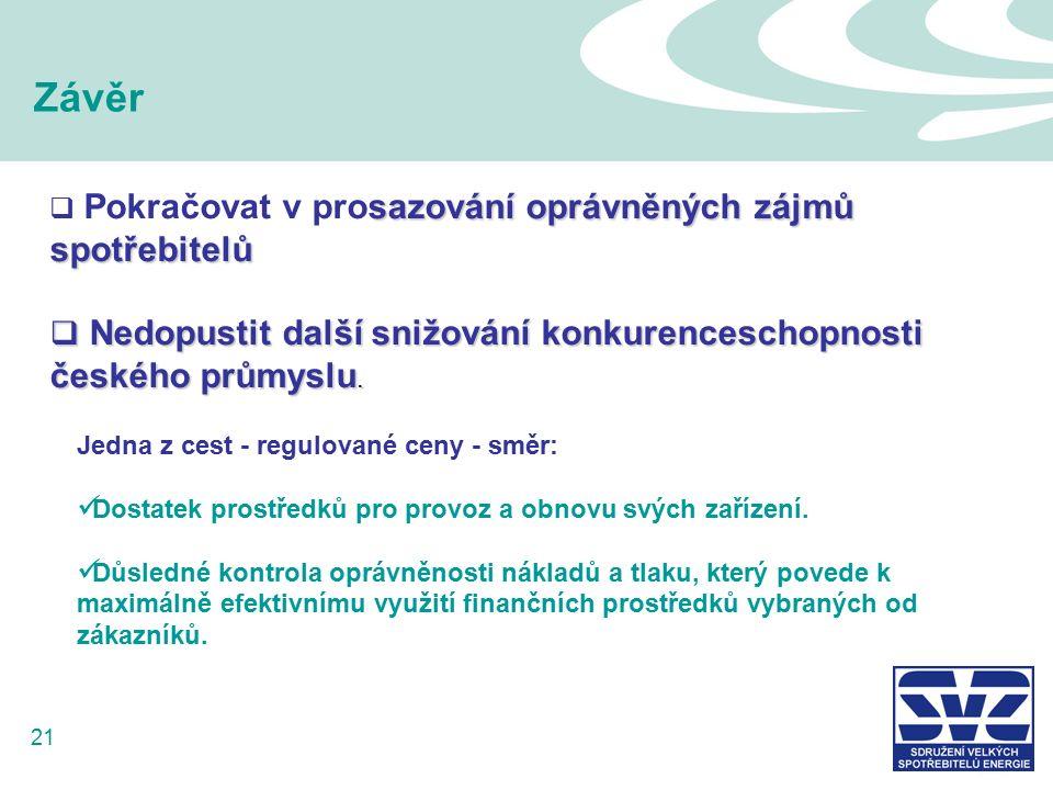21 Závěr sazování oprávněných zájmů spotřebitelů  Pokračovat v prosazování oprávněných zájmů spotřebitelů  Nedopustit další snižování konkurenceschopnosti českého průmyslu.
