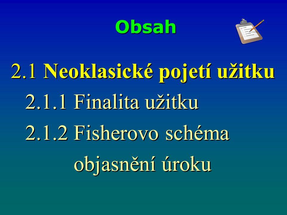 Obsah 2.1 Neoklasické pojetí užitku 2.1.1 Finalita užitku 2.1.2 Fisherovo schéma objasnění úroku 2.1 Neoklasické pojetí užitku 2.1.1 Finalita užitku 2.1.2 Fisherovo schéma objasnění úroku