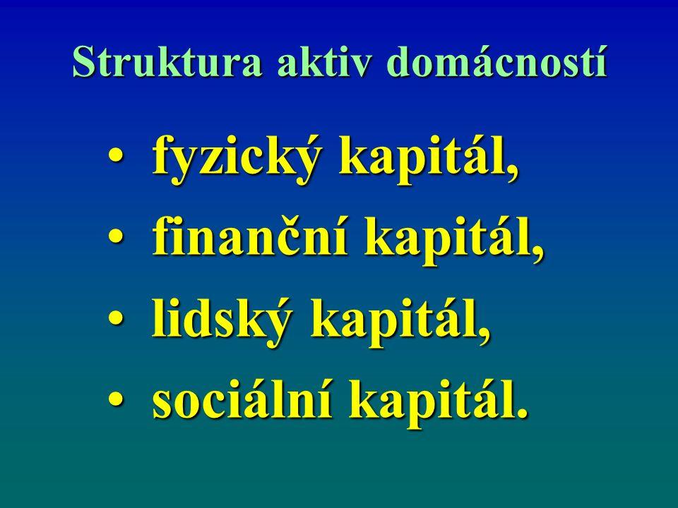 Struktura aktiv domácností fyzický kapitál,fyzický kapitál, finanční kapitál,finanční kapitál, lidský kapitál,lidský kapitál, sociální kapitál.sociální kapitál.