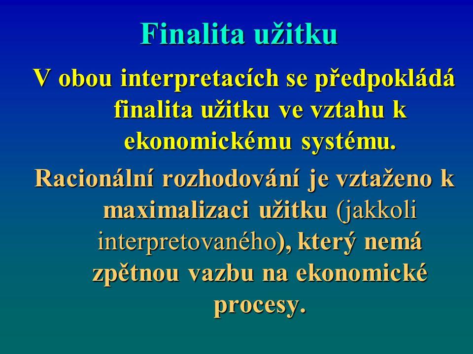 Finalita užitku V obou interpretacích se předpokládá finalita užitku ve vztahu k ekonomickému systému. Racionální rozhodování je vztaženo k maximaliza