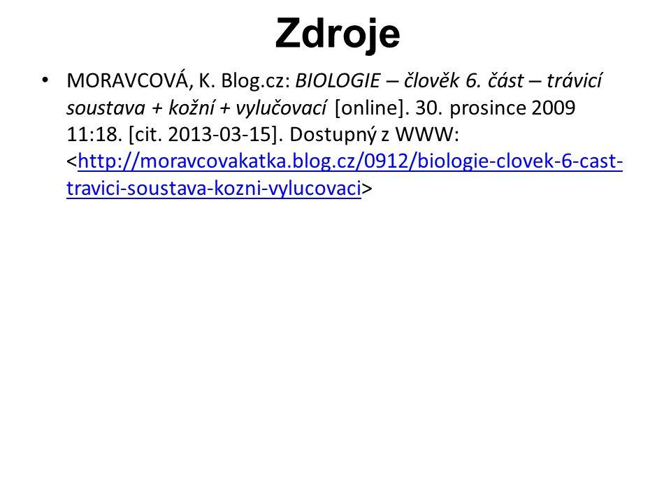 Zdroje MORAVCOVÁ, K. Blog.cz: BIOLOGIE – člověk 6.