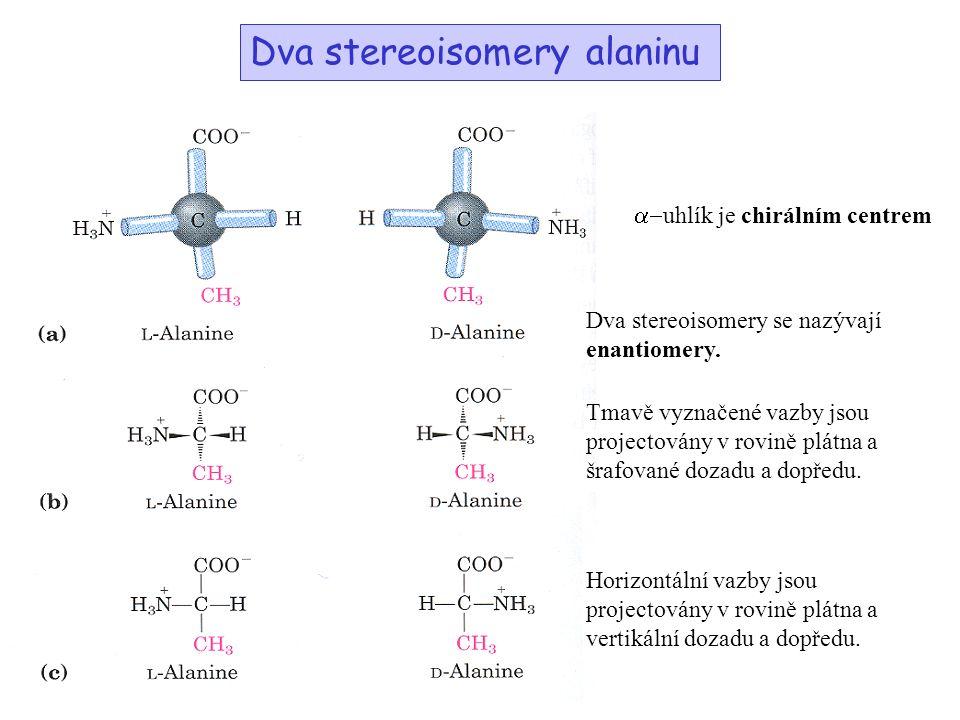 Dva stereoisomery alaninu  uhlík je chirálním centrem Dva stereoisomery se nazývají enantiomery.