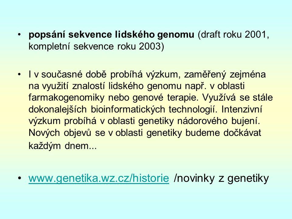 popsání sekvence lidského genomu (draft roku 2001, kompletní sekvence roku 2003) I v současné době probíhá výzkum, zaměřený zejména na využití znalostí lidského genomu např.