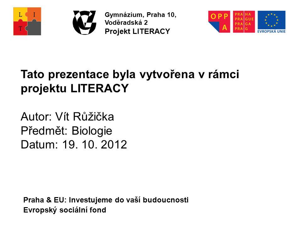 Praha & EU: Investujeme do vaší budoucnosti Evropský sociální fond Tato prezentace byla vytvořena v rámci projektu LITERACY Autor: Vít Růžička Předmět: Biologie Datum: 19.