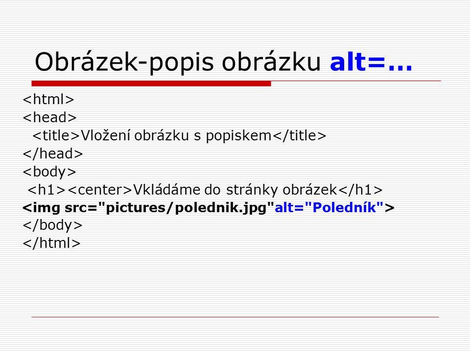 Obrázek-popis obrázku alt=… Vložení obrázku s popiskem Vkládáme do stránky obrázek