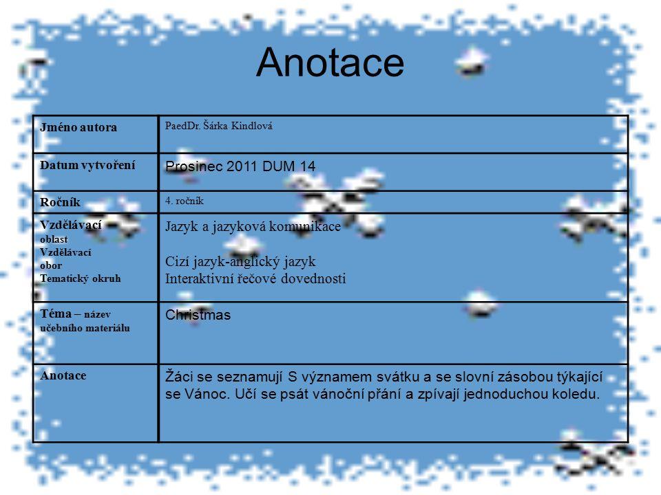 Anotace Jméno autora PaedDr. Šárka Kindlová Datum vytvoření Prosinec 2011 DUM 14 Ročník 4.